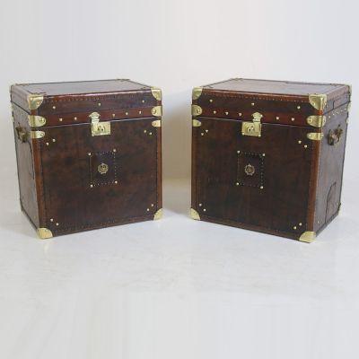 Beautiful pair of matching travel trunks