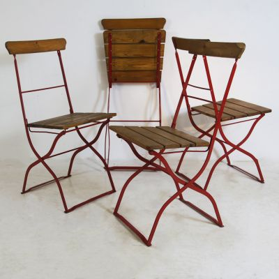 4 no folding bistro chairs with red metal frame