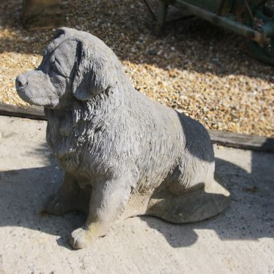 Very large French stone dog sculpture