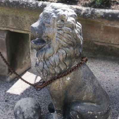 Large stone lion garden statue