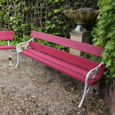 Matched pair of vintage garden benches