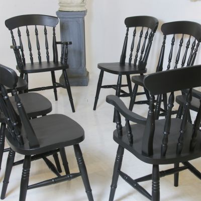 Lovely set of Victorian kitchen spindle chairs