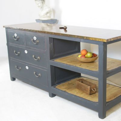 Copper topped 2 way kitchen island