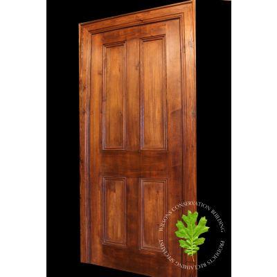 Traditional 4 Panel Reclaimed Pine Door – Antique Brown Wax