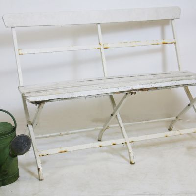 Vintage white metal bench with wooden seat