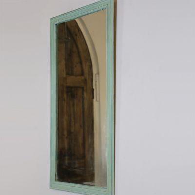 Vintage style green painted mirror