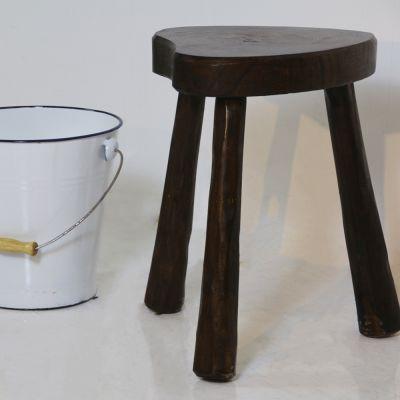 Artisan made wooden milk stool