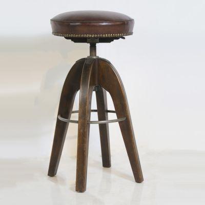 Vintage leather topped stool