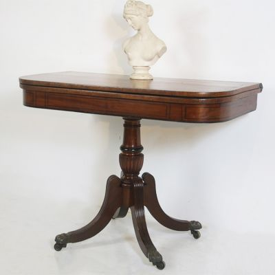 Mahogany card console table with green cloth