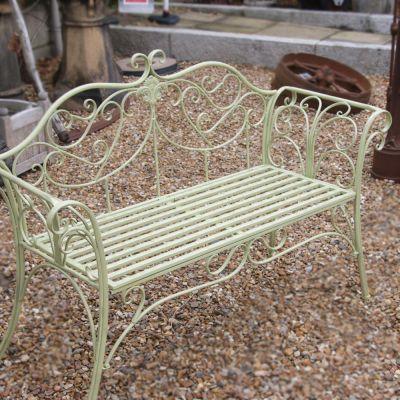 Decorative 2 seater metal green bench