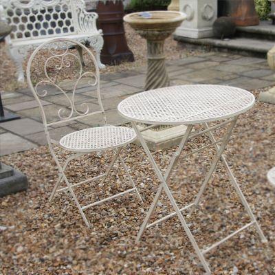 Cream metal bistro garden set