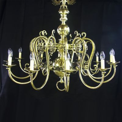 Spectacular vintage brass chandelier