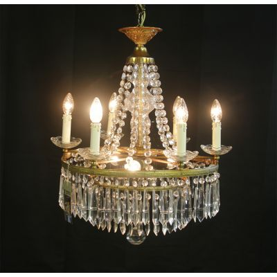Beautiful French crystal & Brass chandelier