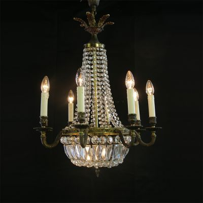 Lovely Brass & Crystal French chandelier