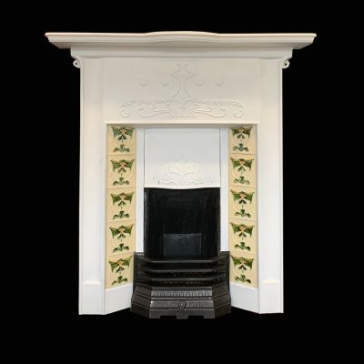 1 of 2 of a matching pair of superb Art Nouveau tile fireplace