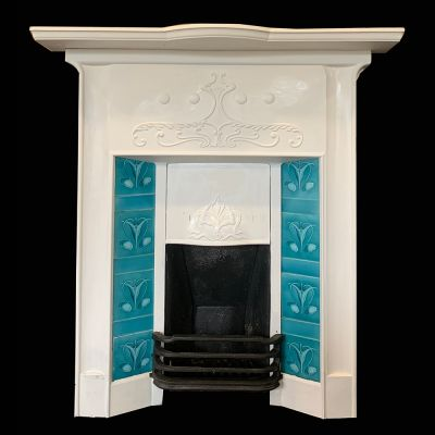 2 of 2 of a matching pair of superb Art Nouveau tile fireplace