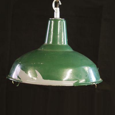 Vintage British made green enamel industrial light