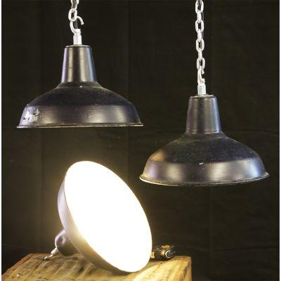 Vintage British made black industrial lights