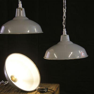 Vintage British made grey enamel industrial lights