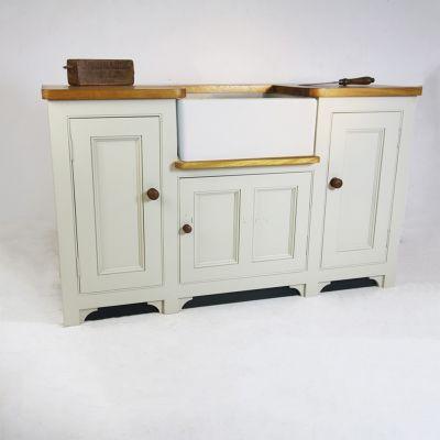 Bespoke Butler Oak top sink unit painted in Farrow & Ball