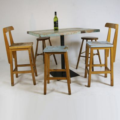 Funky wooden distressed table with stools