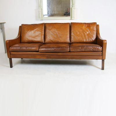 Mid century vintage Scandinavian 3 seater tan leather Settee