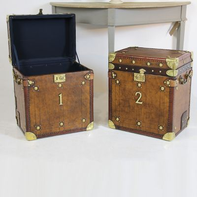 Pair of beautiful leather travel trunks