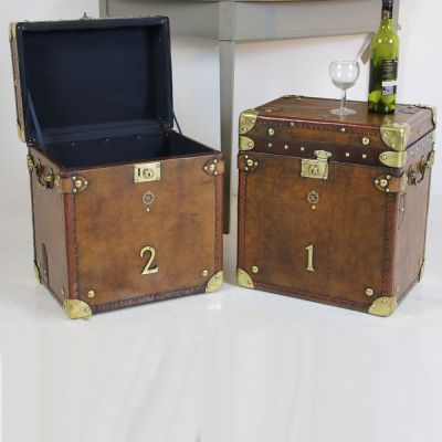 Beautiful pair of Edwardian leather travel trunks