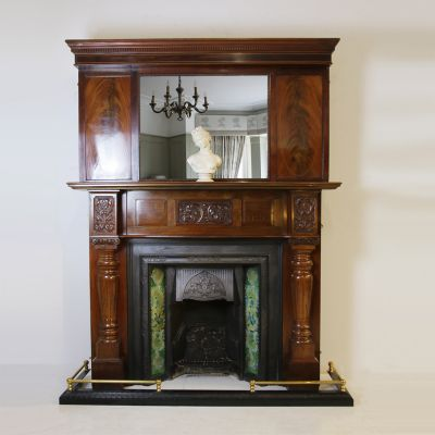 Edwardian flame Mahogany wooden fireplace over mantel mirror