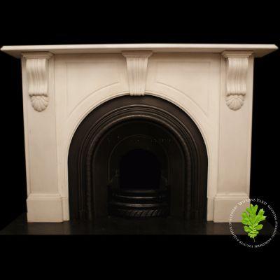 Stunning Irish 19th century statuary white marble fireplace