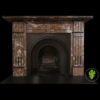 Late 19th Century Victorian fireplace in French rouge royal marble.