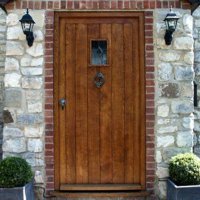Glazed cottage door & frame in solid Oak