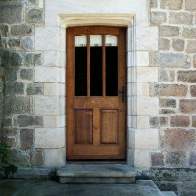 3 pane/2 panel door & frame in solid Oak