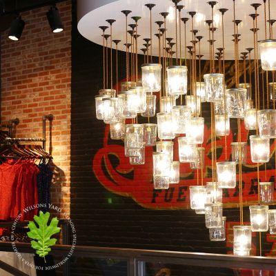 Reclaimed converted Jam Jar lights