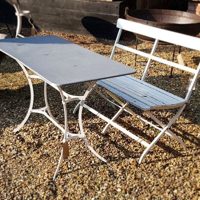 Rectangular zinc topped garden table with painted metal base in a French style