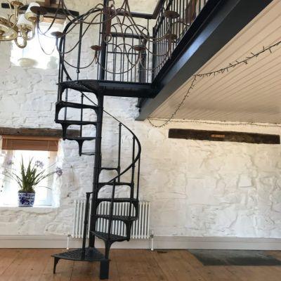 Original cast iron spiral staircase
