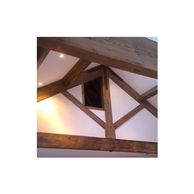 Mock gavel King post truss in pine
