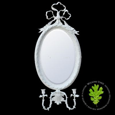 White Clay Paint Oval Sconce Mirror with 2 Candles