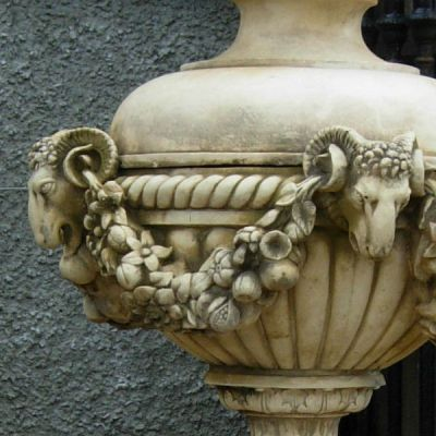 The Triton Collection - Rams Head Urn with 3 Piece Plinth