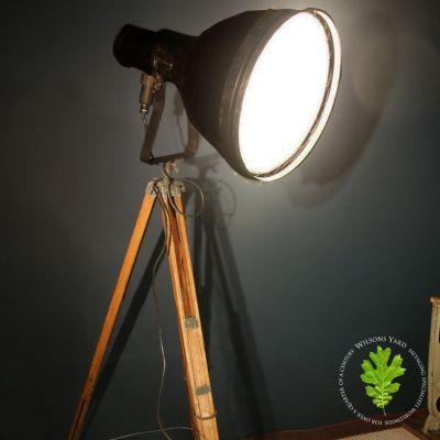 Industrial Light on Wooden Tripod