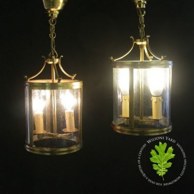 Pair of Antique French Gilded Brass Twin Light Hall Lanterns sold ref inv no: 104143