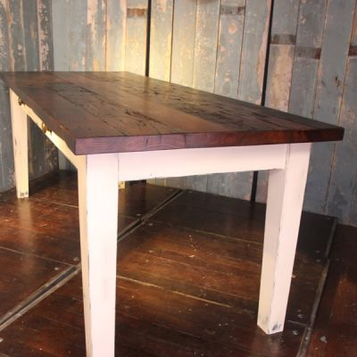 Dining / Kitchen Table with reclaimed oak top