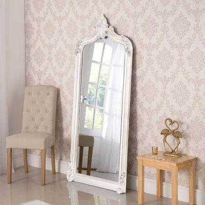 Beautiful white mirror with beveled glass