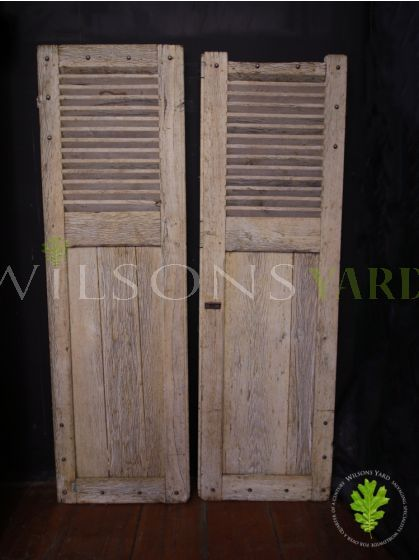 Pair of Beautiful Vintage French Oak Shutters