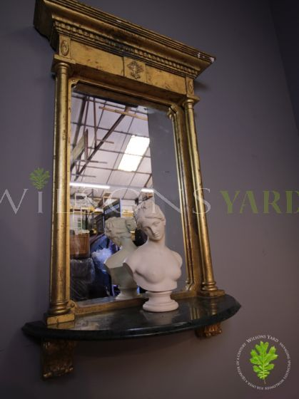 Gilded French Hall Mirror with Marble Shelf