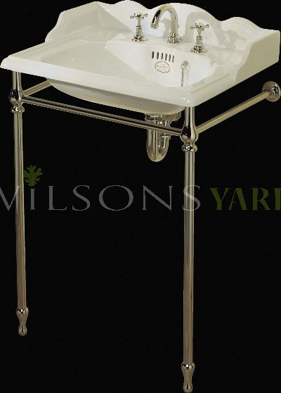 22 Inch Washbasin Stand Set With 3 Hole Mixer White China