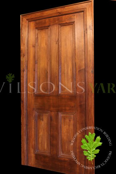 Traditional 4 Panel Reclaimed Pine Door – Antique Brown Wax