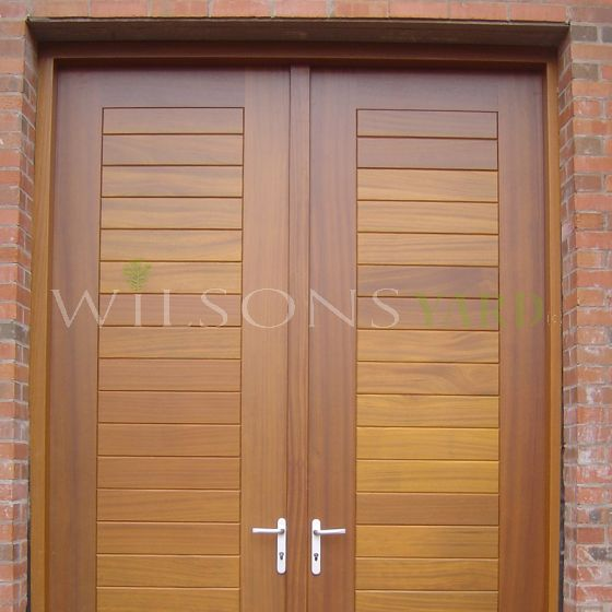 Pair of contemporary doors & frame in Iroko