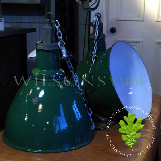 Large reclaimed green industrial lights rewired and tested