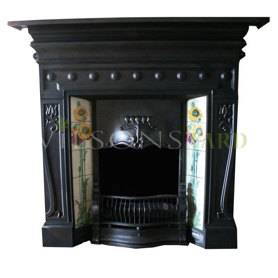 Beautiful restored Edwardian tiled fireplace